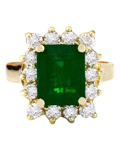 4.70 Carat Natural Emerald 14K Solid Yellow Gold Diamond Ring