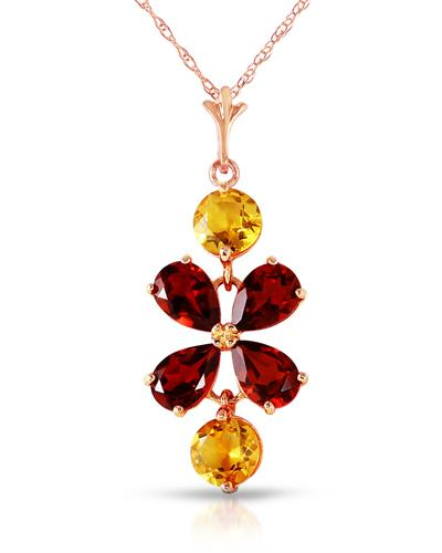 Magnolia Brand New Necklace with 3.15ctw of Precious Stones - citrine and garnet 14K Rose gold