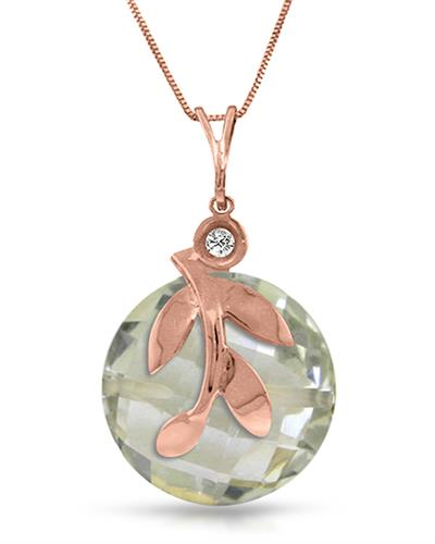 Magnolia Brand New Necklace with 5.32ctw of Precious Stones - amethyst and diamond 14K Rose gold