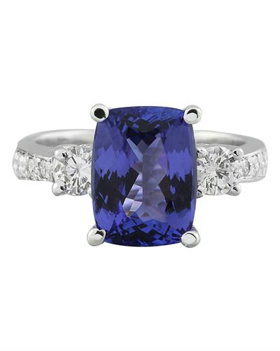 Brand New Ring with 5.4ctw of Precious Stones - diamond and tanzanite 14K White gold