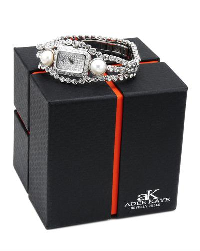 Adee Kaye ak9-70L/CR Brand New Quartz Watch with 0ctw of Precious Stones - crystal and pearl