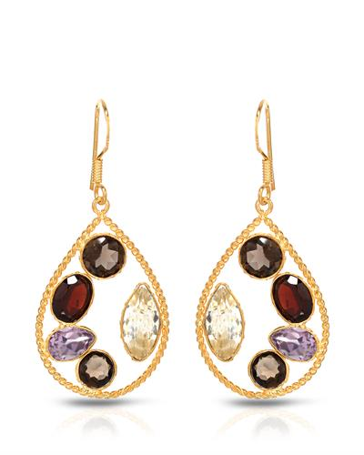 Brand New Earring with 11.75ctw of Precious Stones - amethyst, garnet, quartz, and topaz 10K/925 Yellow Gold plated Silver