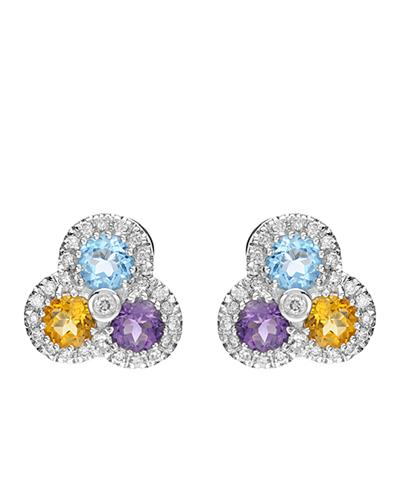 Brand New Earring with 1.98ctw of Precious Stones - amethyst, citrine, diamond, and topaz 14K White gold