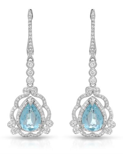 Julius Rappoport Brand New Earring with 3.03ctw of Precious Stones - apatite and diamond 14K White gold