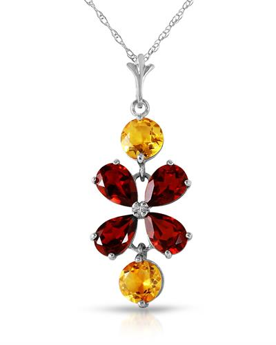 Magnolia Brand New Necklace with 3.15ctw of Precious Stones - citrine and garnet 14K White gold