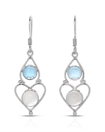 Brand New Earring with 5.36ctw of Precious Stones - moonstone and topaz 925 Silver sterling silver