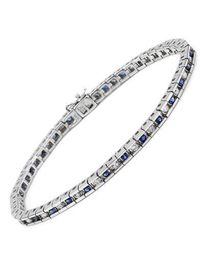 Brand New Bracelet with 3.96ctw of Precious Stones - diamond and sapphire 14K White gold