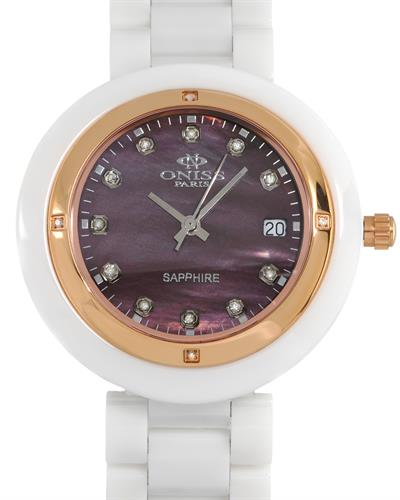 Oniss ON609-LRG/WT/601BN Paris Brand New Swiss Quartz date Watch with 0.07ctw of Precious Stones - diamond and mother of pearl