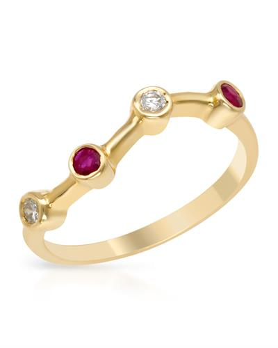 Brand New Ring with 0.2ctw of Precious Stones - diamond and ruby 14K Yellow gold