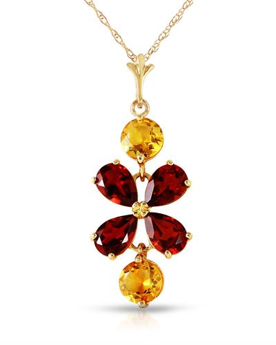 Magnolia Brand New Necklace with 3.15ctw of Precious Stones - citrine and garnet 14K Yellow gold