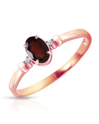 Magnolia Brand New Ring with 0.46ctw of Precious Stones - diamond and garnet 14K Two tone gold