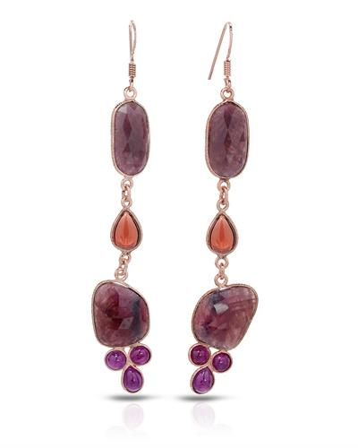 Brand New Earring with 48.56ctw of Precious Stones - garnet, ruby, and sapphire 10K/925 Rose Gold plated Silver