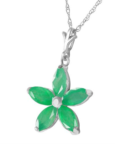Magnolia Brand New Necklace with 1.4ctw emerald 14K White gold