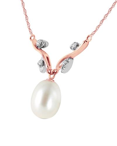 Magnolia Brand New Necklace with 0.02ctw of Precious Stones - diamond and pearl 14K Two tone gold