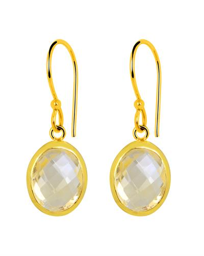 Brand New Earring with 6ctw citrine 14K/925 Yellow Gold plated Silver