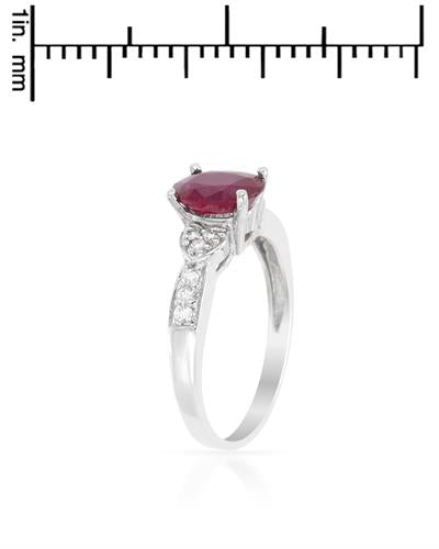 Brand New Ring with 1.18ctw of Precious Stones - diamond and ruby 14K White gold