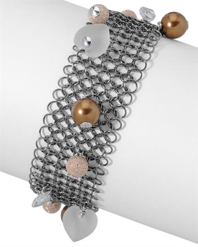 Millana Brand New Bracelet with 0ctw of Precious Stones - cubic zirconia and faux pearl 925 Black sterling silver