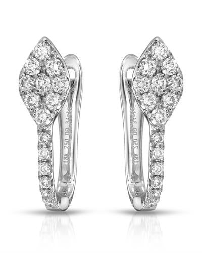 Julius Rappoport Brand New Earring with 0.34ctw diamond 18K White gold