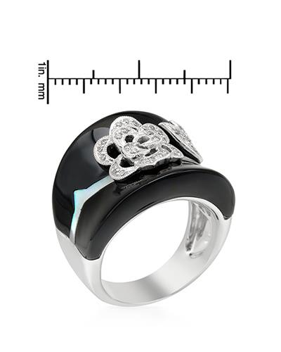 Brand New Ring with 0.17ctw of Precious Stones - diamond, mother of pearl, and onyx 18K White gold