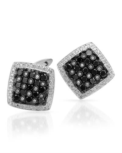 Brand New Cuff Links with 2.5ctw of Precious Stones - diamond and diamond 18K White gold