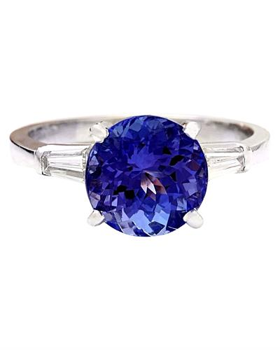 Brand New Ring with 3.42ctw of Precious Stones - diamond and tanzanite 14K White gold
