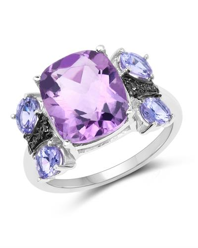 Brand New Ring with 5.53ctw of Precious Stones - amethyst, tanzanite, and topaz 925 Silver sterling silver