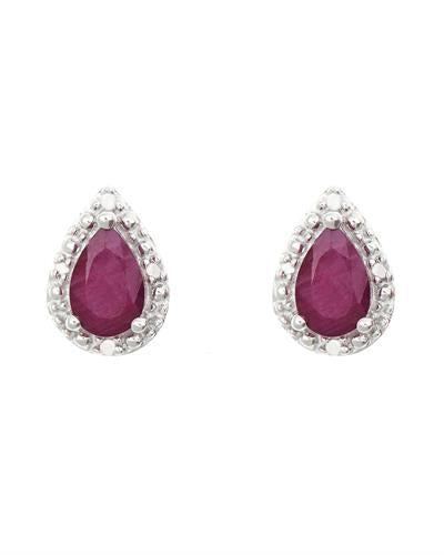 Brand New Earring with 0.92ctw of Precious Stones - diamond and ruby 925 Silver sterling silver