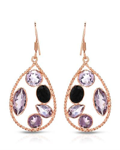 Brand New Earring with 11.8ctw of Precious Stones - amethyst and sapphire 925 Rose sterling silver