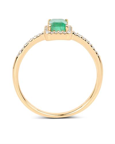 Brand New Ring with 0.61ctw of Precious Stones - diamond and emerald 14K Yellow gold