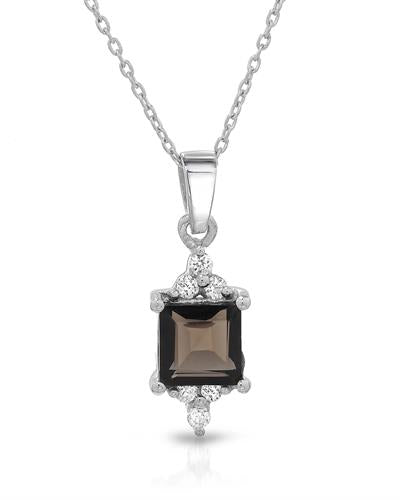 Brand New Necklace with 1.62ctw of Precious Stones - cubic zirconia and topaz 925 Silver sterling silver