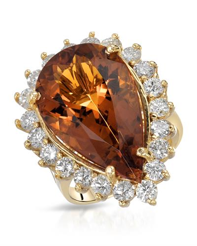 Lundstrom Brand New Ring with 13.71ctw of Precious Stones - citrine and diamond 14K Yellow gold