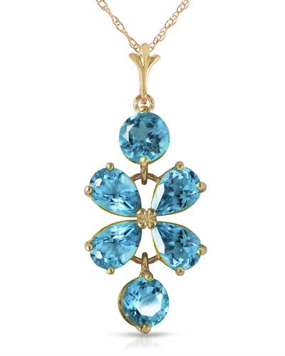 Magnolia Brand New Necklace with 3.15ctw topaz 14K Yellow gold