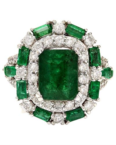 6.90 Carat Natural Emerald 14K Solid White Gold Diamond Ring