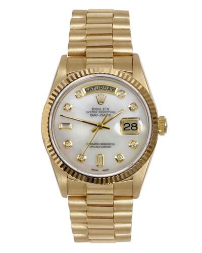 Rolex 18038 PreOwned Automatic day date Watch with 0.25ctw diamond