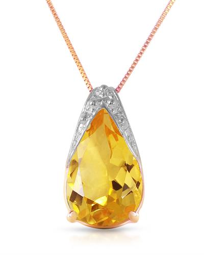 Magnolia Brand New Necklace with 5ctw citrine 14K Rose gold