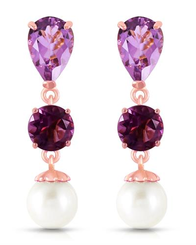 Magnolia Brand New Earring with 5.5ctw of Precious Stones - amethyst and pearl 14K Rose gold