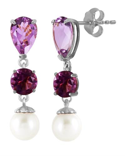 Magnolia Brand New Earring with 5.5ctw of Precious Stones - amethyst and pearl 14K White gold
