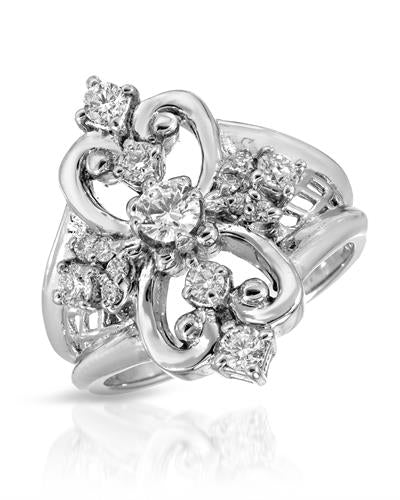 Julius Rappoport Brand New Ring with 0.65ctw of Precious Stones - diamond and diamond ctr 18K White gold