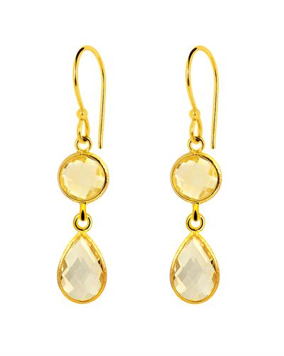 Brand New Earring with 8.75ctw citrine 14K/925 Yellow Gold plated Silver