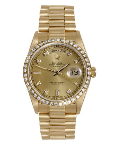 Rolex 18038 PreOwned Automatic day date Watch with 0.4ctw diamond