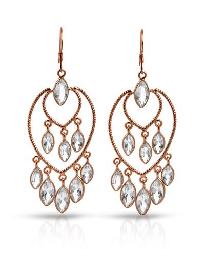 Brand New Earring with 16ctw topaz 925 Rose sterling silver
