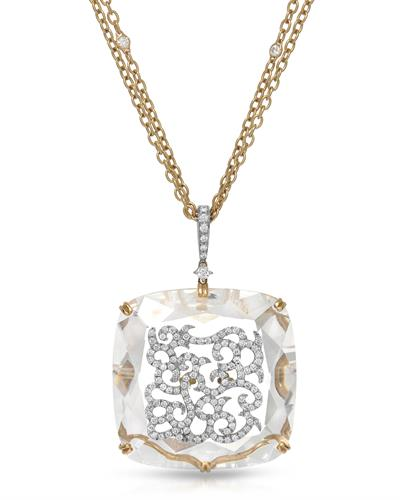 CASATO Brand New Necklace with 62.9ctw of Precious Stones - crystal and diamond 18K Two tone gold