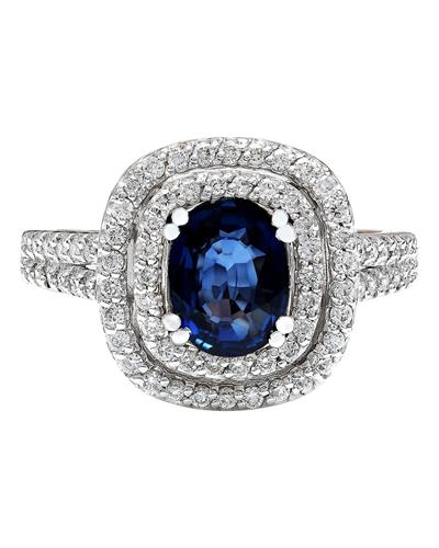 2.26 Carat Natural Sapphire 14K Solid White Gold Diamond Ring