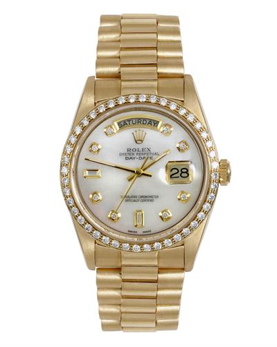 Rolex 18038 PreOwned Automatic day date Watch with 0.2ctw diamond
