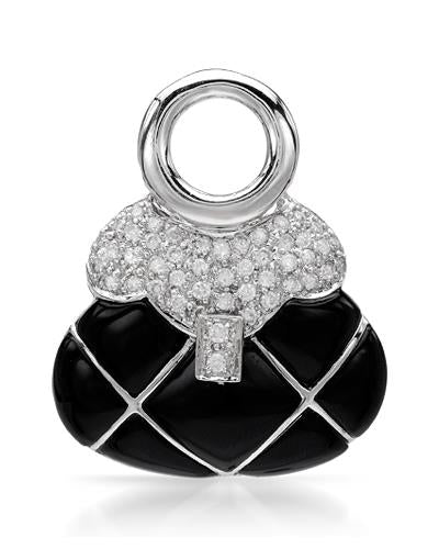 Brand New Pendant with 0.43ctw of Precious Stones - diamond and onyx 14K White gold