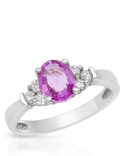 Brand New Ring with 1.4ctw of Precious Stones - diamond and sapphire 14K White gold