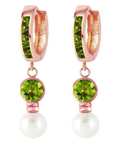 Magnolia Brand New Earring with 2.2ctw of Precious Stones - pearl and peridot 14K Rose gold