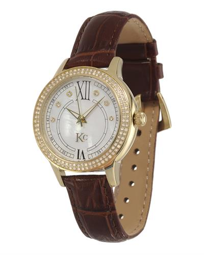 KC Brand New Japan Quartz Watch with 0.75ctw of Precious Stones - crystal, diamond, and mother of pearl