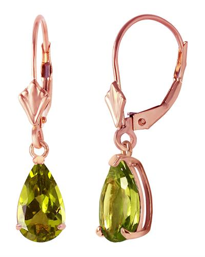 Magnolia Brand New Earring with 3ctw peridot 14K Rose gold