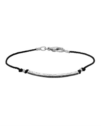 HELLMUTH Brand New Bracelet with 0.28ctw diamond  Black Silk and 925 Silver sterling silver
